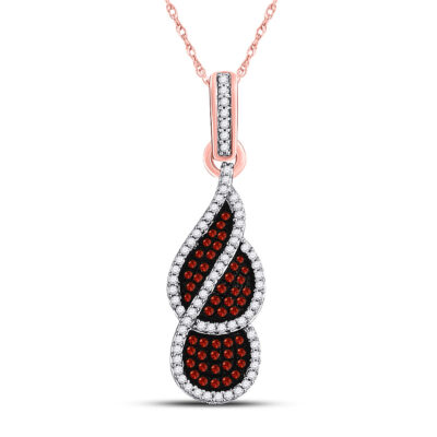 10kt Rose Gold Womens Round Red Color Enhanced Diamond Fashion Pendant 1/3 Cttw