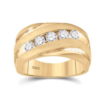 10kt Yellow Gold Mens Round Diamond Wedding Anniversary Band Ring 1 Cttw