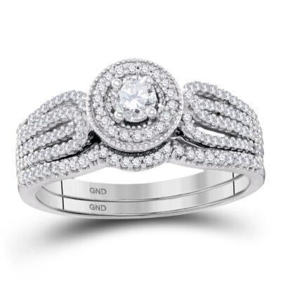 10k White Gold Round Diamond Bridal Wedding Ring Band Set 1/2 Cttw