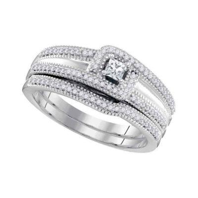 10k White Gold Princess Diamond Bridal Wedding Ring Band Set 1/3 Cttw