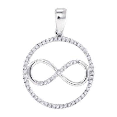 10kt White Gold Womens Round Diamond Infinity Circle Pendant 1/4 Cttw