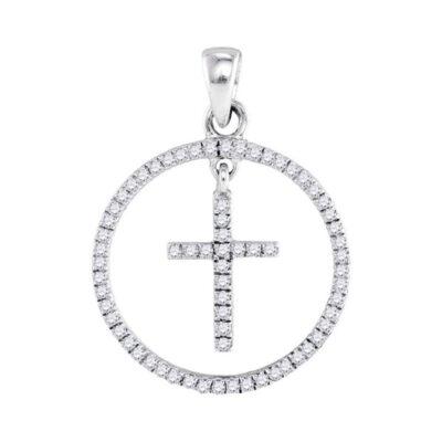 10kt White Gold Womens Round Diamond Circle Cross Pendant 1/4 Cttw
