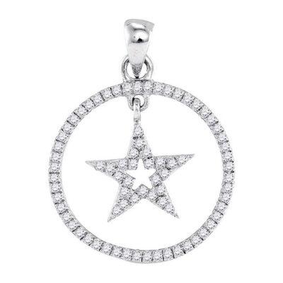 10k White Gold Round Diamond Womens Dangling Star Circle Pendant 1/4 Cttw