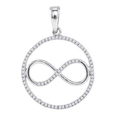 10kt White Gold Womens Round Diamond Infinity Circle Pendant 1/3 Cttw