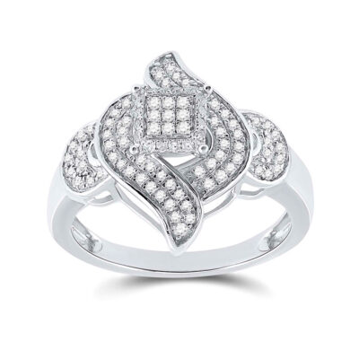 Sterling Silver Womens Round Diamond Fashion Ring 1/3 Cttw