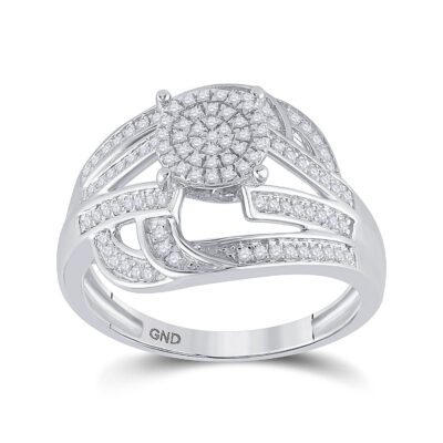 Sterling Silver Womens Round Diamond Cluster Ring 1/3 Cttw