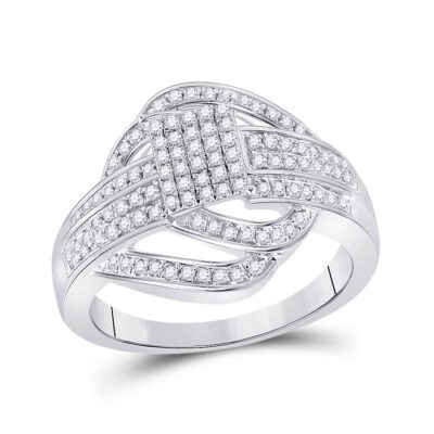 Sterling Silver Womens Round Diamond Square Cluster Ring 1/2 Cttw