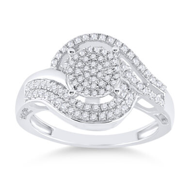 Sterling Silver Womens Round Diamond Cluster Ring 1/2 Cttw