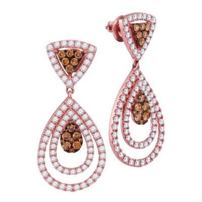 14kt Rose Gold Womens Round Brown Diamond Teardrop Dangle Earrings 2-1/2 Cttw