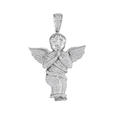 10kt White Gold Mens Round Diamond Angel Cherub Charm Pendant 1 Cttw