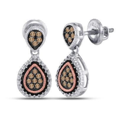 Sterling Silver Womens Round Brown Diamond Teardrop Dangle Earrings 1/5 Cttw