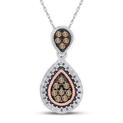 Sterling Silver Womens Round Brown Diamond Teardrop Cluster Pendant 1/6 Cttw