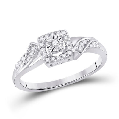Sterling Silver Womens Round Diamond Square Ring 1/6 Cttw