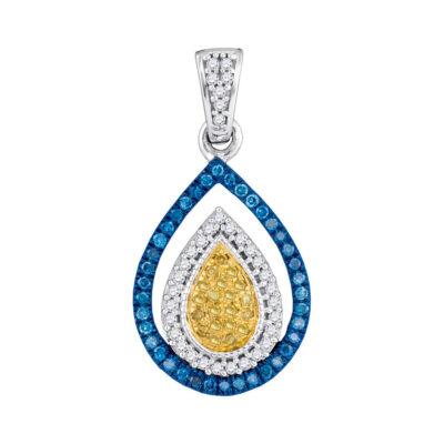 10kt White Gold Womens Round Blue Color Enhanced Diamond Teardrop Pendant 1/4 Cttw