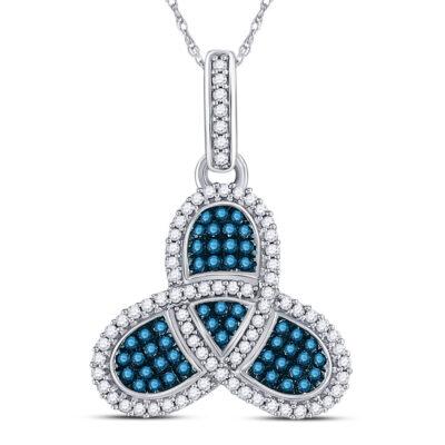 10kt White Gold Womens Round Blue Color Enhanced Diamond Triquetra Pendant 3/8 Cttw