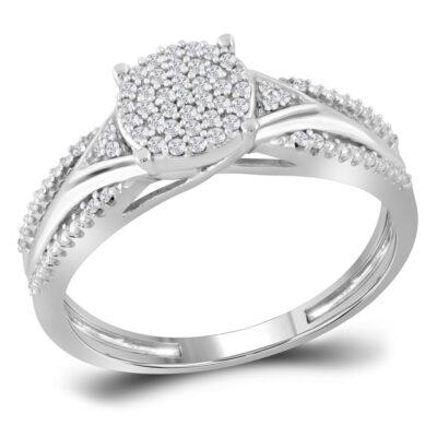 10kt White Gold Round Diamond Cluster Bridal Wedding Engagement Ring 1/6 Cttw