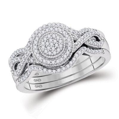 10kt White Gold Round Diamond Bridal Wedding Ring Band Set 1/3 Cttw