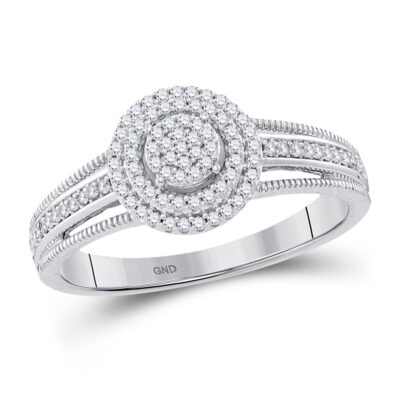 10kt White Gold Diamond Concentric Cluster Bridal Wedding Engagement Ring 1/5 Cttw
