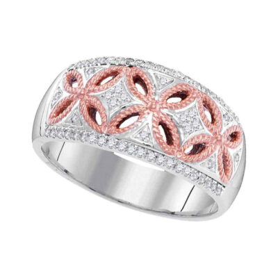 10kt Two-tone Gold Womens Round Diamond Band Ring 1/5 Cttw
