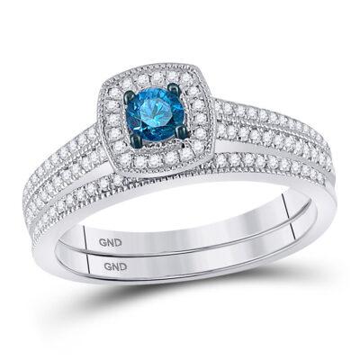 10kt White Gold Womens Round Blue Color Enhanced Diamond Bridal Wedding Ring Set 1/2 Cttw