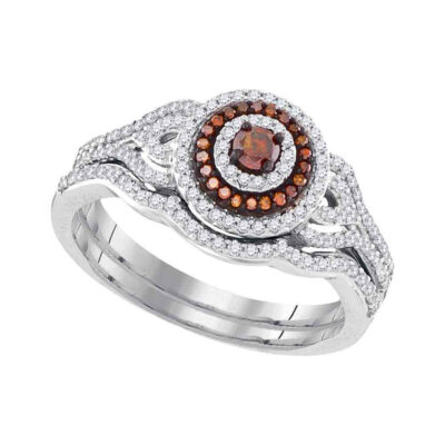 10kt White Gold Womens Round Red Color Enhanced Diamond Bridal Wedding Ring Set 1/2 Cttw