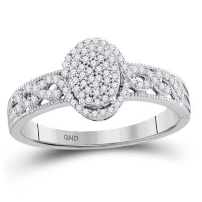 10kt White Gold Round Diamond Oval Cluster Milgrain Twist Bridal Ring 1/4 Cttw