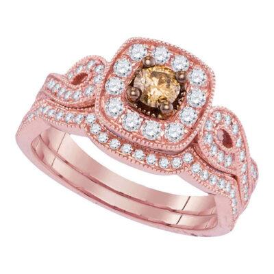14kt Rose Gold Womens Round Brown Diamond Bridal Wedding Ring Band Set 3/4 Cttw