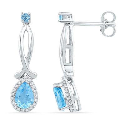 10kt White Gold Womens Pear Lab-Created Blue Topaz Diamond Dangle Earrings 1 Cttw