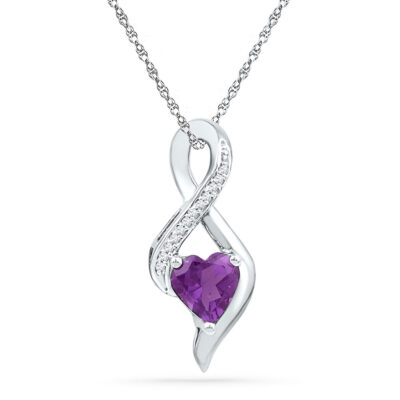10kt White Gold Womens Lab-Created Amethyst Heart Solitaire Infinity Pendant 1/20 Cttw