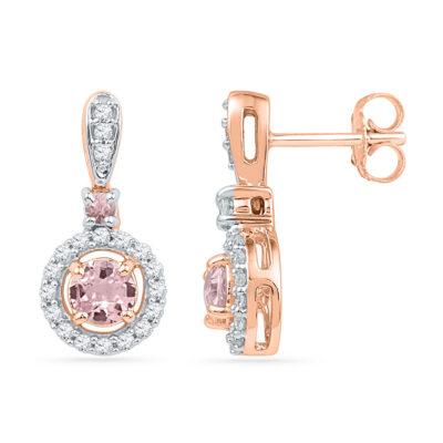 10kt Rose Gold Womens Round Morganite Diamond Circle Dangle Earrings 1 Cttw