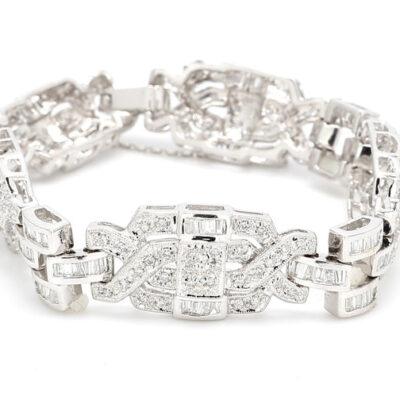 Antique Style Bracelet in 18K WG w/ Round & Baguette diamonds D8.60ct.t.w.