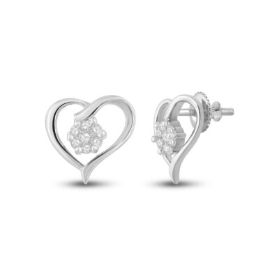 10kt White Gold Womens Round Diamond Heart Earrings 1/6 Cttw