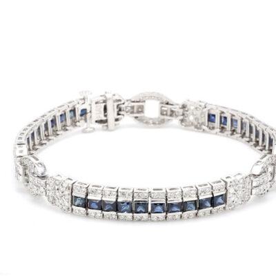 "7"" Antique Style Bracelet in Platinum w/ Sapphires & Round diamonds D1.60ct.t.w."