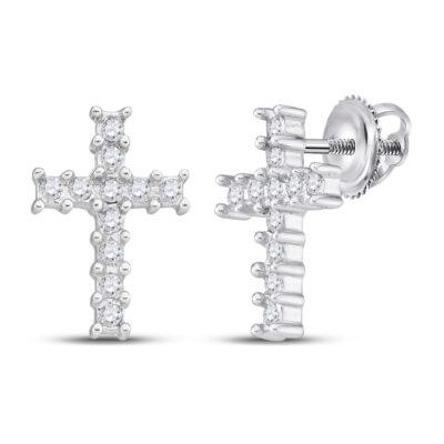 10kt White Gold Womens Round Diamond Cross Earrings 1/10 Cttw