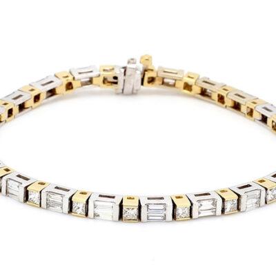 Tennis Bracelet in two-tone w/ Princess cut & Baguette diamonds D3.65ct.t.w.