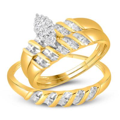 10k Yellow Gold Diamond Marquise-shape Cluster Bridal Wedding Trio Mens Womens Ring Band Set