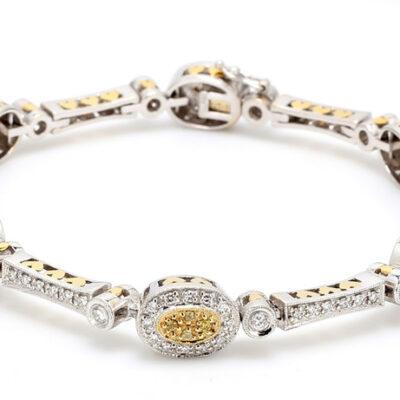 Bracelet in 18K two-tone w/ white & yellow Round diamonds D2.33ct.t.w.