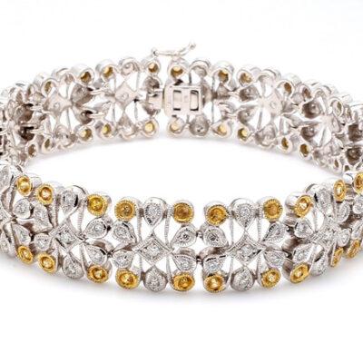 Art Deco Bracelet in 18K two-tone w/ Sapphires & Round diamonds D1.36ct.t.w. (S1.99ct)