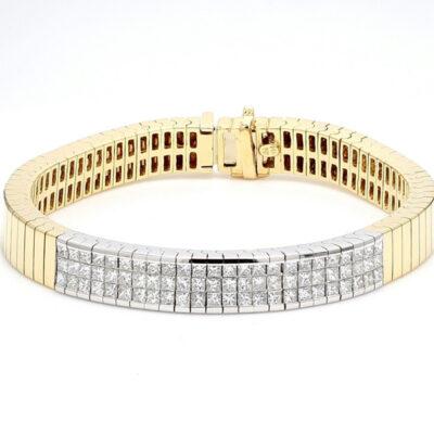 ID Bracelet in 14K two-tone w/ Princess cut diamonds D3.00ct.t.w.