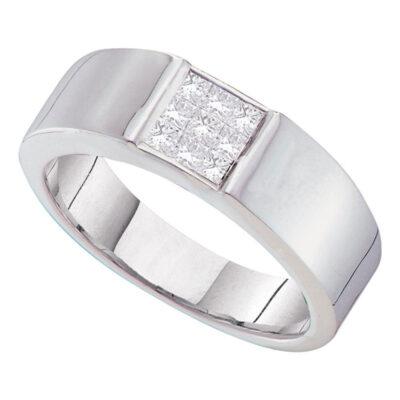 14kt White Gold Mens Princess Diamond Cluster Wedding Anniversary Band Ring 1/2 Cttw