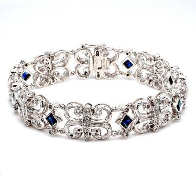 "7"" Butterfly Links Bracelet in 18K WG w/ Sapphires & Round diamonds D0.63ct.t.w."