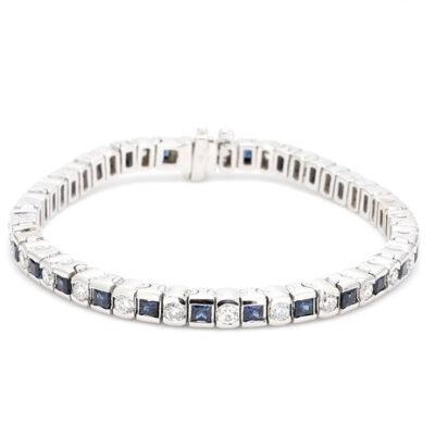 """7"""" Tennis Bracelet in 14K WG w/ Sapphires & Round diamonds D2.35ct.t.w."""