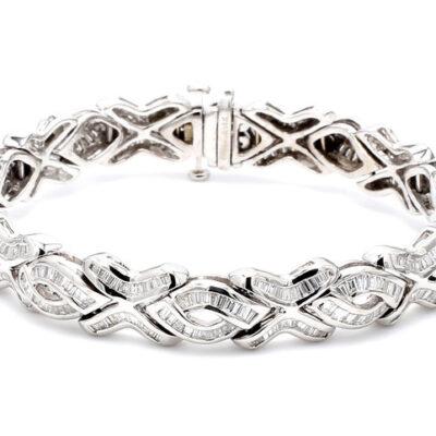"""7"""" XOXO style Bracelet in 14K WG w/ Baguette diamonds D6.72ct.t.w."""