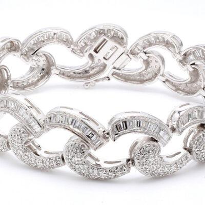 """7"""" Antique Style Bracelet in 18K WG w/ Baguette & Round diamonds D4.50ct.t.w."""