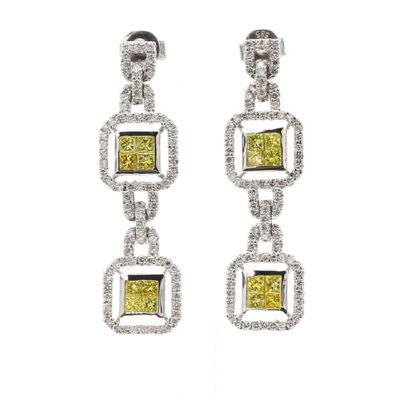 Dangling Drop Earrings in 14K WG w/ FY Princess cut & white Round diamonds D2.25ct.t.w.