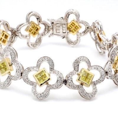Bracelet w/ Flower Design in 14K two-tone w/ FY Princess & Round diamonds D4.75ct.t.w.