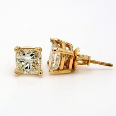 Stud Earrings in 14K YG w/ certified H-I/SI2-SI3 Princess cut diamonds D2.18ct.t.w.