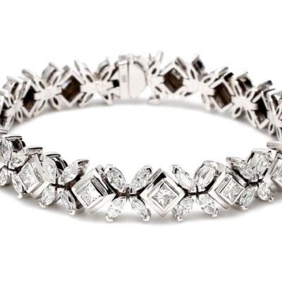 """8"""" Bracelet in 14K WG w/ Marquise & Princess cut diamonds D10.39ct.t.w."""