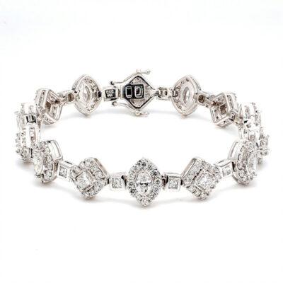 """7"""" Halo Bracelet in 14K WG w/ Princess, Marquise, & Round diamonds D7.55ct.t.w."""