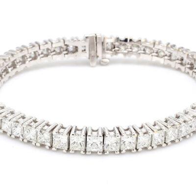 """7"""" Tennis Bracelet in 14K WG w/ Princess Cut diamonds D12.53ct.t.w."""